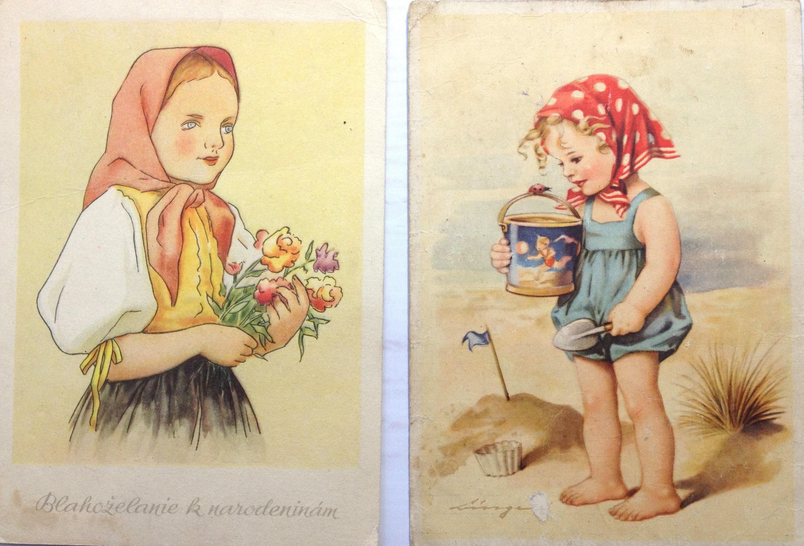 Postcards Lot 2 pcs children's Illustrations Children Pretty girls Vintage  Postcards Retro postcards Vintage postcard sets