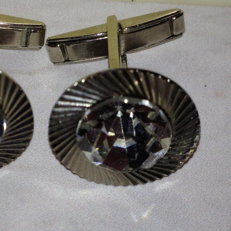 Vintage cufflinks Russian jewelry 60s Cufflinks Soviet era Cufflinks glass stone Crystal cufflinks