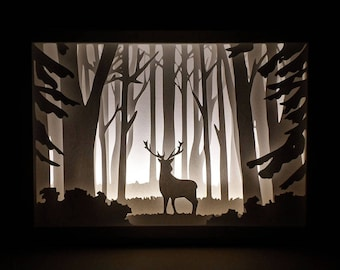 57374715e43 Paper Cut Silhouette Shadow Box - Deer in the Woods