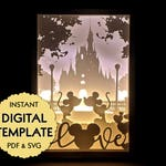Template Disney Love Mickey Mouse and Minnie Mouse Paper Cut File, Silhouette Light Box Tutorial - PDF, SVG Digital Download