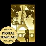 Template Couple in Love in Paris Paper Cut File, Silhouette Light Box Tutorial - PDF, SVG Digital Download