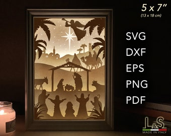 Christmas 3D Shadow Box SVG, Layered SVG file for Cricut, Nativity Lighted Box Template, DIY Craft Kit Christmas Decoration, svg Night Light