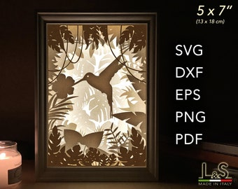 Hummingbird SVG Shadow Box File, Paper Cut Light Box Template, Layered SVG file for Cricut, DIY 3D Shadow Box Art, Hummingbird Night Light