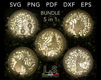Christmas Ornament SVG Bundle, 3D Layered Ornaments, Shadow Box SVG, Template Cricut Christmas Ball svg, Xmas Ornament, Christmas Bauble svg