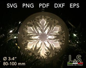 Snowflake Ornament Christmas Bauble SVG, 3D Layered Christmas Ornament SVG, Christmas Ball SVG, Shadow Box svg Template,Cricut svg Christmas