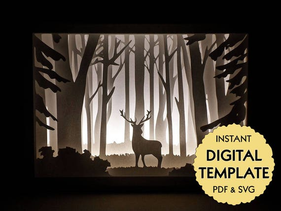 template deer in the woods paper cut file silhouette light etsy