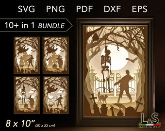Layered Halloween Shadow Box svg Files, 3D Halloween Light Box svg, Lighted Shadow Box Template, Halloween Shadowbox svg, Lightbox Template