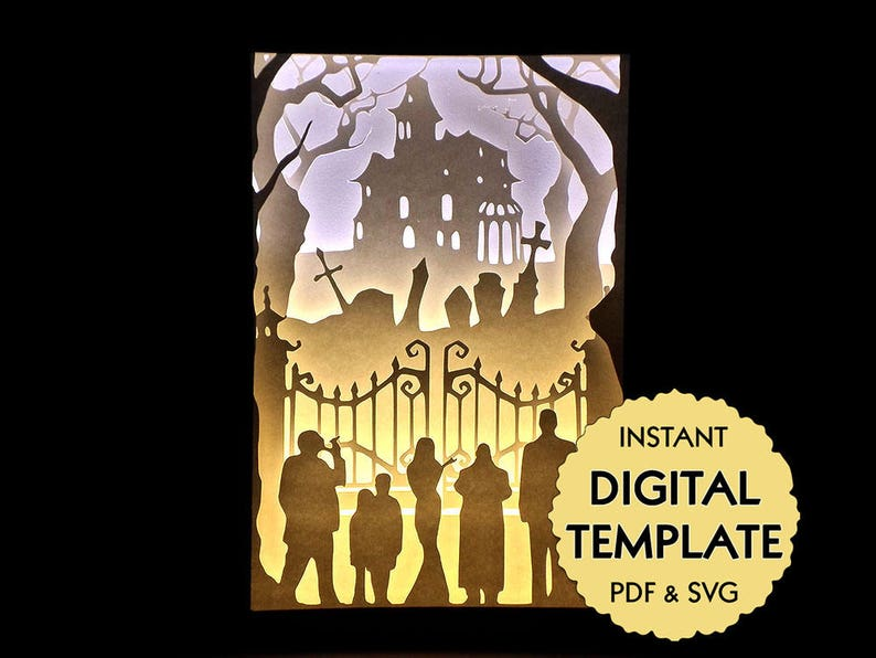 Template Addams Family Paper Cut File, Silhouette Light Box Tutorial - PDF,  SVG Digital Download