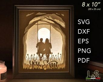 Love Shadow Box Template, Anniversary Shadow Box svg Couple, Paper Light Box Template, 3D Light Box svg File, Cricut Layered Shadow Box Art