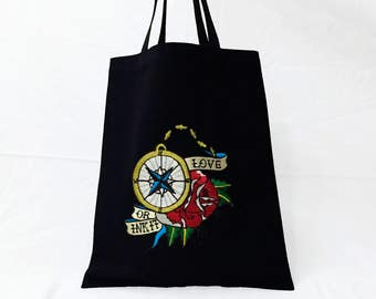 Compass Rose Embroidered Ecobag BK
