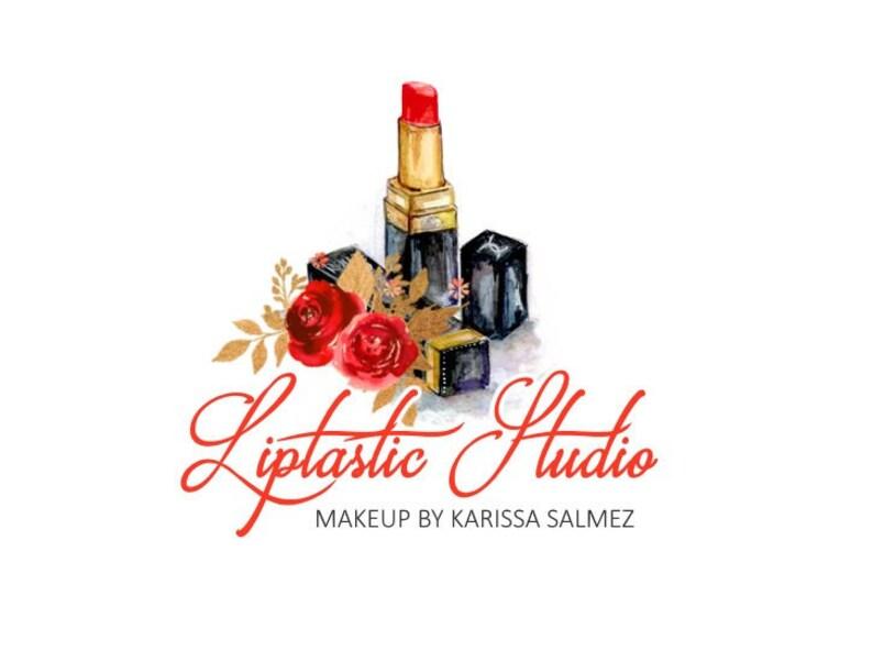 Lipstick logo, Red lipstick, Black red logo, Premade design, OOAK design,  One of a kind, Retire logo, Gold black logo, Makeup logo design