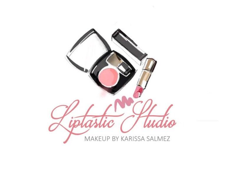 Makeup logo, Pink lipstick, Blush logo, Mascara logo, Lipstick logo design,  Watercolor design, OOAK logos, Retired logo, Retire it, premade