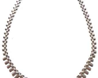 Vintage 1970s 70s Modernist Clewley & Co Birmingham Silver   Panel Necklace