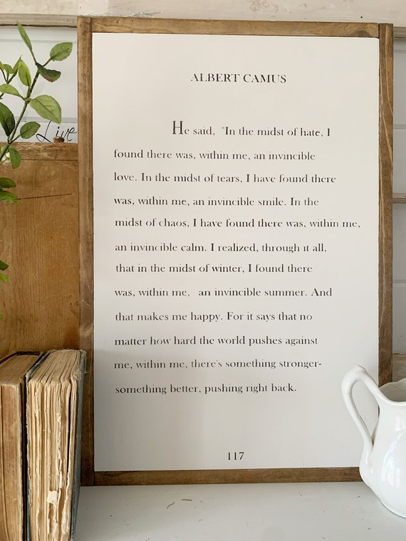 Albert Camus  There was within me  Inspirational sign  Empowerment  Family Sign  Wood Framed Sign  Wood Sign  Wall Art