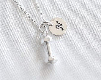 c58aa854d7c Dumbbell Personalised Sterling Silver Necklace | Fitness Sport Custom  Necklace | Workout Weightlifting Jewellery | Gym Charm | Sport Lover
