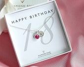 18th Birthday Necklace Swarovski Birthstone Eighteenth Birthday Gift 18 th Birthday Gift Jewelry 18th Gift For Her Sterling Silver