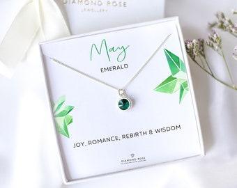 May Birthstone Necklace, Emerald Necklace, Taurus Birthstone, Emerald Birthday Gift, Gift For Her, Gemstone, Swarovski Emerald Jewelry Gift