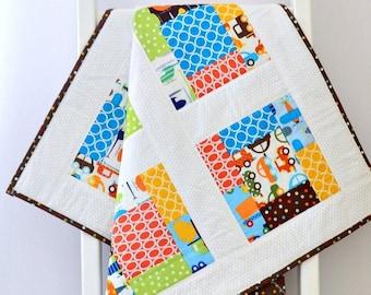 Toddler boy quilt, handmade, blue, geometric, patchwork quilt, birthday gift, baby shower gift