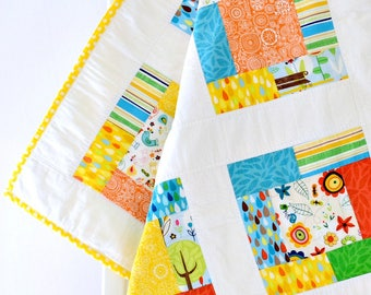 Baby Girl Quilt Yellow Red Blue Patchwork Quilt, Baby Gift Floral Baby Shower Gift Handmade Nursery Baby Blanket - Spring Street