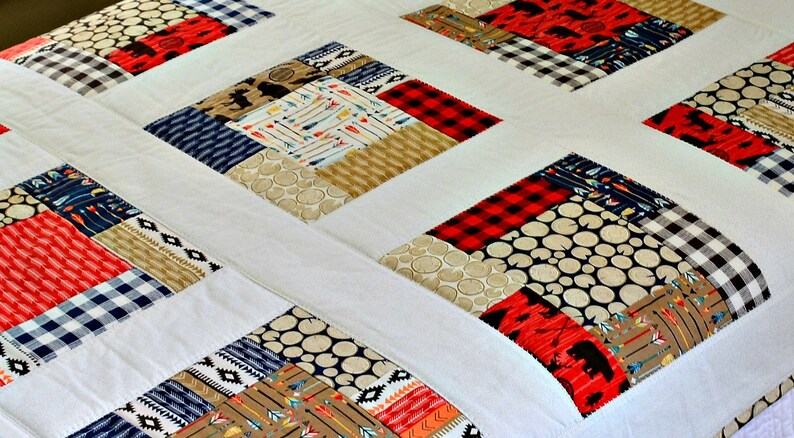 Patchwork Baby Boy Quilt High Adventure by Riley Blake Collection Buffalo Check Black Red Blue