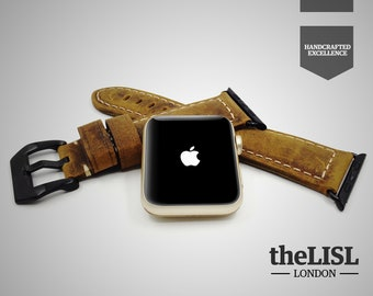 Apple Watch band / Straps 38 / 42 mm Genuine Leather Vintage Classic Elegant Strap Engraving -  Rustic Brown
