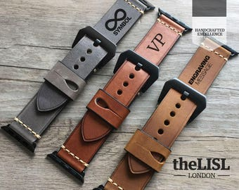 Apple Watch band, Apple Watch Strap 38 / 42 mm Genuine Leather Vintage Classic Strap Women and Men Engraving Leather Watch Band Gift Father