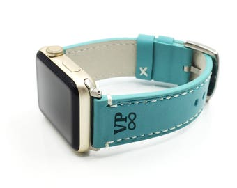 Apple Watch band Straps 38 42 mm Genuine Leather Elegant Strap Engraving Personalize Wife Women Girlfriend Gift Light Turquoise Sky Blue
