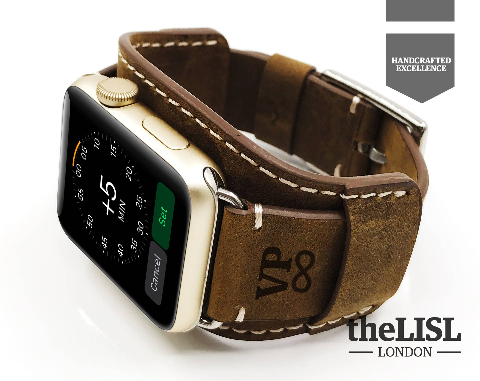 zoom Personalized Leather Apple Watch Cuff Apple