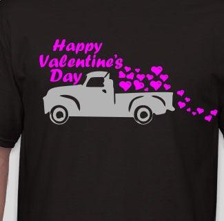 Valentines Day Chevy Truck Pink Glitter Vinyl Is Optional