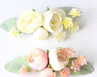 Ranunculus Hair Clip Lilac White Pink Pinup Rockabilly Wedding  Prom  Hair Flower