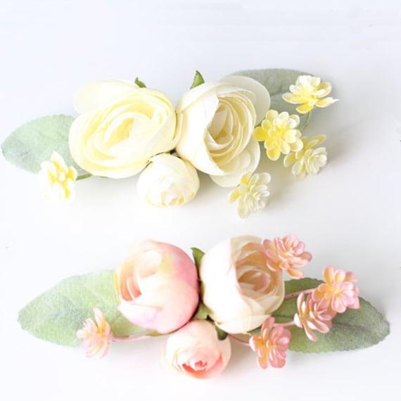 Silk Flower Hair Clip Rose Peony Ranunculus Wedding Etsy