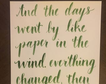 Handwritten Tom Petty Lyric The Days Went By