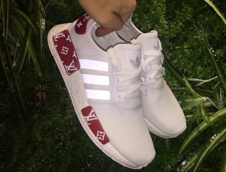 b7e105359 Adidas NMD x Louis Vuitton Custom Shoes white reflective strip