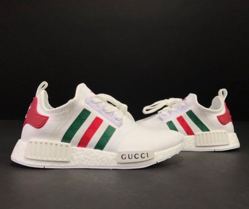 new arrivals d527d 7b78e Adidas NMD x Gucci Custom Shoes white   Etsy