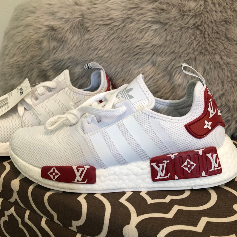 wholesale dealer 50c37 9bd8f Adidas NMD x Louis Vuitton Custom Shoes white reflective strip