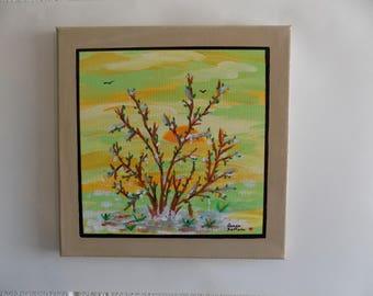 Spring Wall Art, 'Spring Sunrise', Landscape Art, Self Framing Art, Canvas Art, Acrylic Painting,