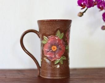 Medium Handmade Ceramic Coffee Mug - Carved Flowers