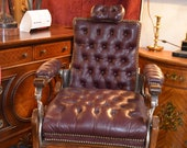 Antique Tufted Burgundy Leather Barber Chair from Chicago