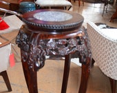 Vintage Chinese Hand Carved Rosewood Marble Top Pedestal Table