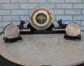 Art Deco French Figural Mantel Clock with Two Garnitures - 3 Piece Set