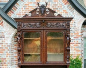 Antique French Oak Black Forest Harvest Hunt Stag Crown Cabinet Bookcase Buffet
