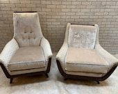 Mid Century Modern Adrian Pearsall His and Hers Lounge Chairs Newly Upholstered - Set of 2