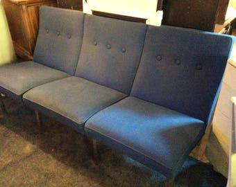 Vintage MCM Steelcase Original Cobalt Blue With Metal Frame Sofa