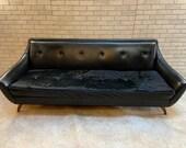 Mid Century Modern Adrian Pearsall Style Gondola Sofa in Black
