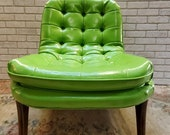 Art Deco Adrian Pearsall Style Green Vinyl Scoop Lounge Chair