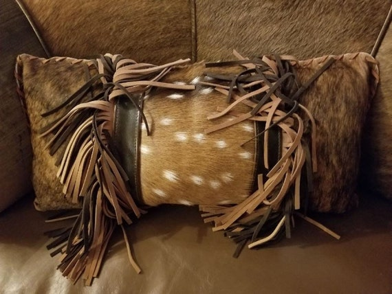 Four Southwestern Deer Leather And Hide Decorative Pillows By Etsy