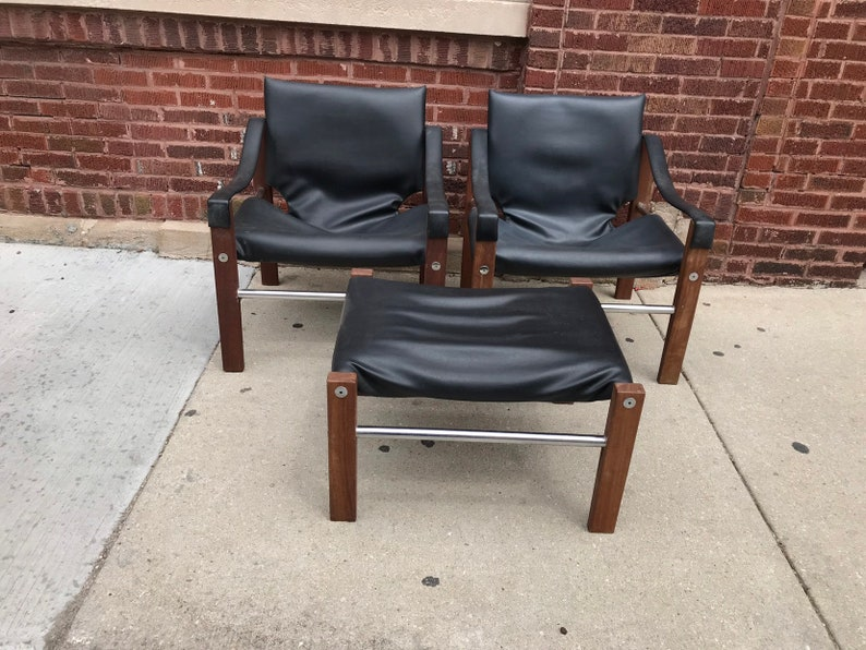 Mid Century Modern Maurice Burke Set Of Two Safari Chairs And Etsy