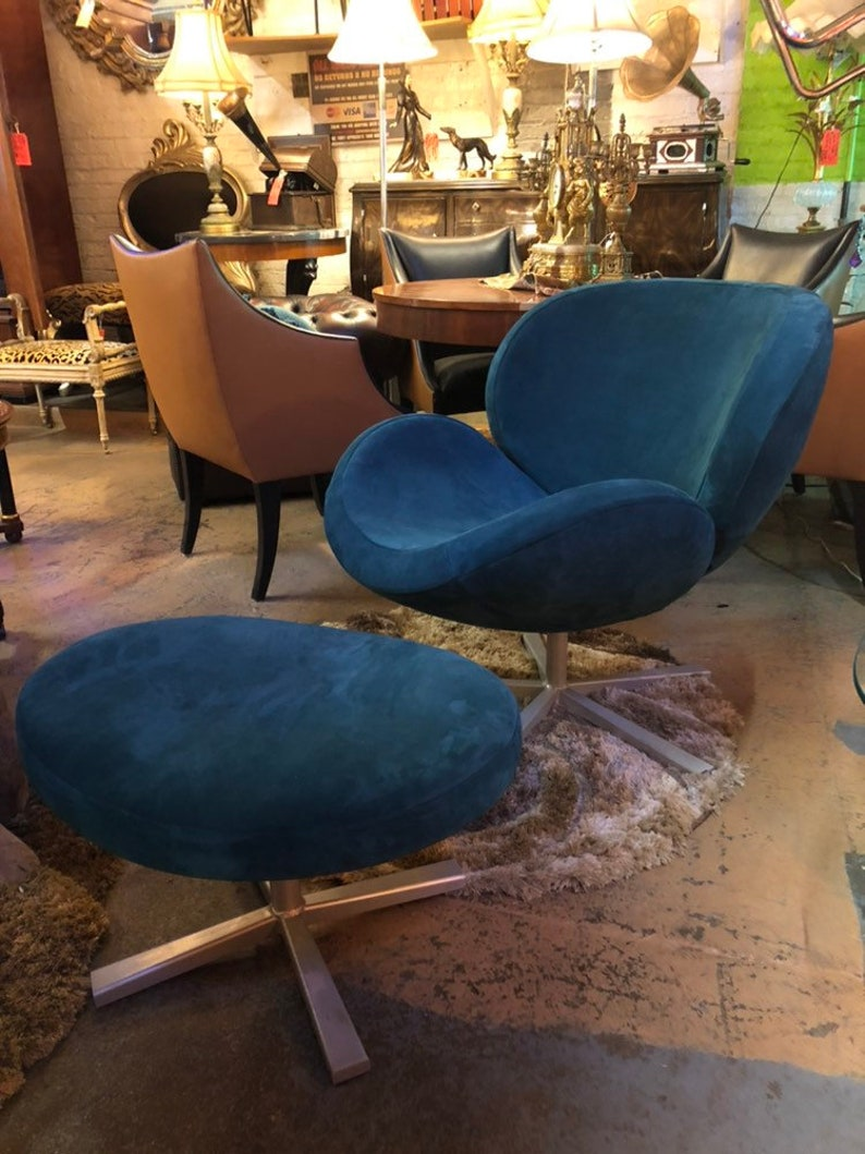 Prime Vintage Mid Century Modern Scoop Swivel Lounge Chair And Ottoman Newly Upholstered Gmtry Best Dining Table And Chair Ideas Images Gmtryco