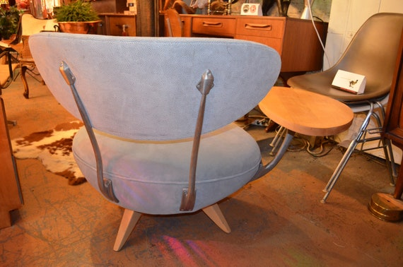 Tremendous Vintage Retro Table Side Swivel Chair By Galerkin Designs Newly Upholstered Baby Blue Textures Suede Andrewgaddart Wooden Chair Designs For Living Room Andrewgaddartcom
