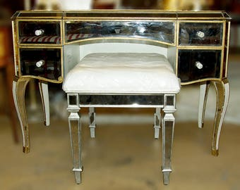 Vintage Vanity Set with a stool and Matching Coffee Table